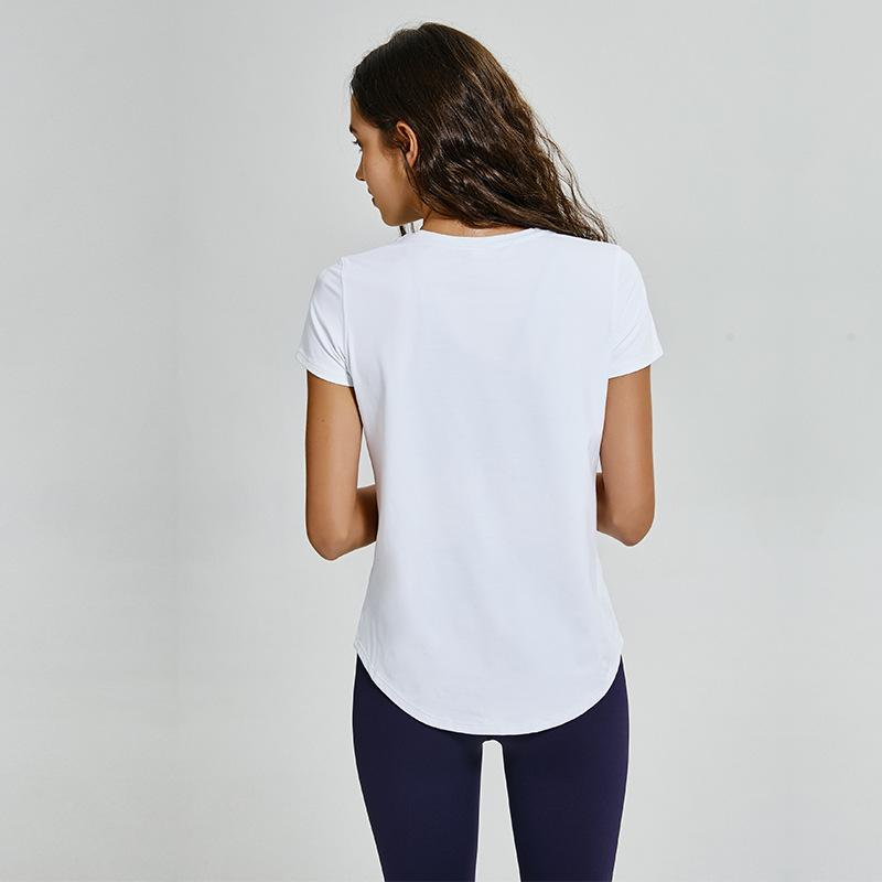 20202020 novo Slim Double-Sided Nude T-shirt Mulheres respirável alta Elastic Solid Color All-jogo Correndo fitness Yoga roupas