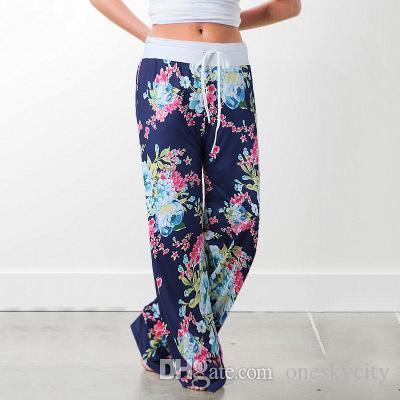 Artı boyutu Geniş Bacak Pantolon Moda Kadın Pantolon Günlük Düşük Bel Pantolon Yaz Pantolon Amerikan Bayrağı Baskı # G20 ile Vintage Soğuk