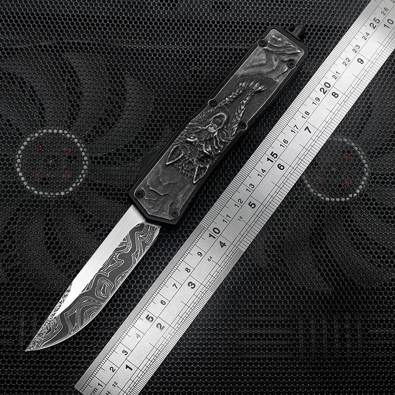 3 새로운 자동 빠른 개방 사냥 다마스커스 패턴 블랙 블레이드 용 베어 울프가 인쇄 된 핸들 EDC 야외 전술 나이프를 3D 칼