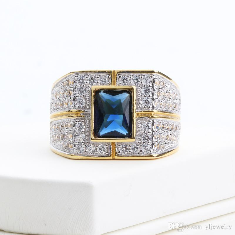Luxury Jewelry Original Yellow Gold Color Ring Set Blue Rectangle Crystal CZ Zircon Engagement Wedding Rings Gift For Women Retail M041