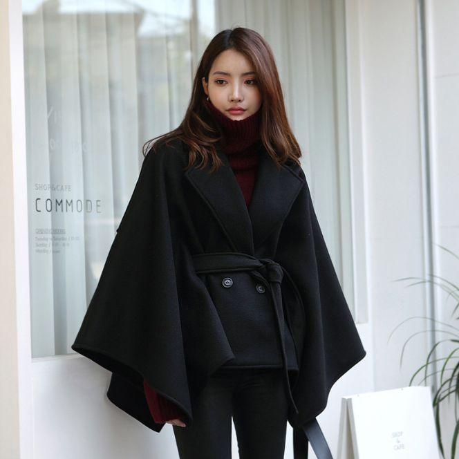 Lana abrigo de invierno de las mujeres 2019 nuevo medio abrigo de lana largo lazo suelto cabo del mantón espesa capa de la manera