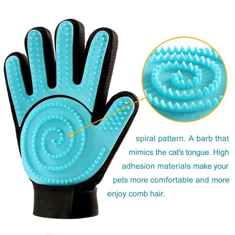 2шт зоосалон перчатки Силиконовые мягкий массаж Deshedding инструмент Кисть для собак кошек PI669