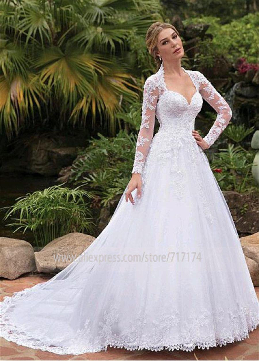 Abiti Da Cerimonia Wedding.Discount Fantastic Tulle Queen Anne Neckline A Line Wedding