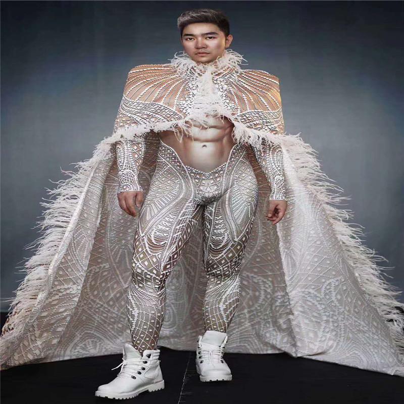 T56 Homens salão dj pole dance jumpsuit 3D impresso trecho collant manto de penas traje do estágio bar roupa discoteca muscular desgaste do partido pano masculino