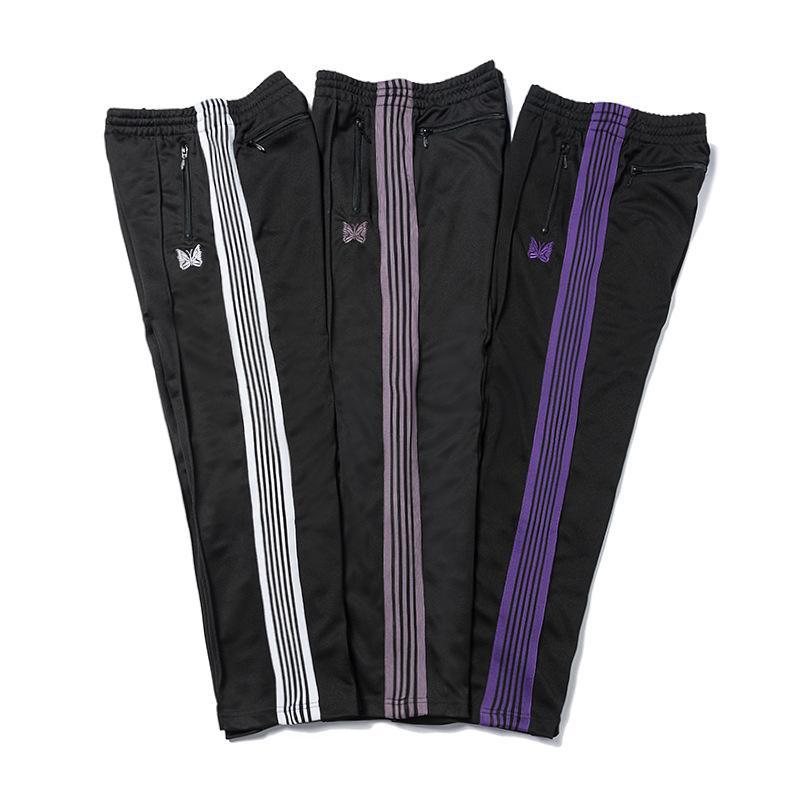 AGHI 3 colori adattano pantaloni della tuta farfalla ricamata laterale Stripe Pantaloni Uomo donne lunghe Cordino Pants High Street