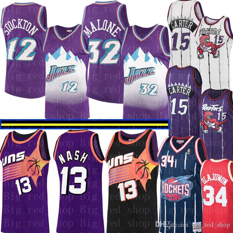 NCAA Steve Nash 13 College di Vince Carter 15 Jersey Mens John Stockton 12 Karl Malone 32 Abdul 34 Olajuwon Basketball Maglie