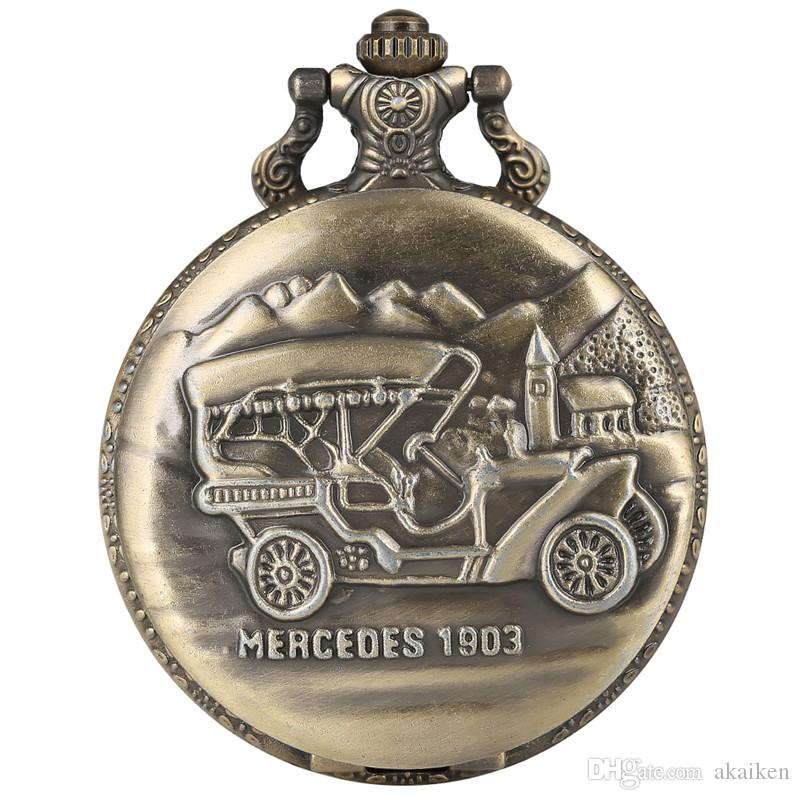 Display da auto in bronzo Orologio da tasca al quarzo Hunter completo Steampunk Catena pendente per uomo Donna Gioielli antichi Orologi Regali