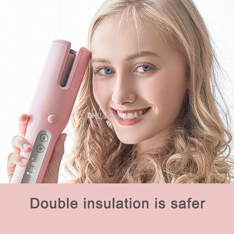 Newest Rechargeable Curling Iron Automatic Curly hair Mini Portable to Preovent burns Curling Wireless Curler Big Wave Styling Tools