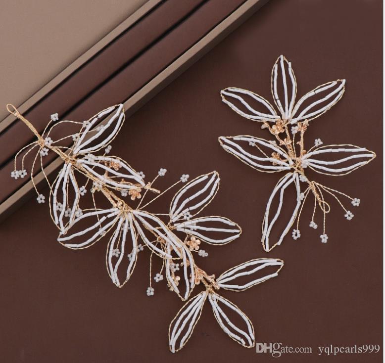 Brautschmuck europäische und amerikanische heiße Blatthaarband reine handgemachte Kristallhaarband