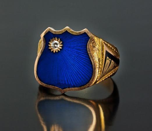 Zhixun hommes et femmes Bleu Couleur Creative Badge Bague 2020 New Gold Couleur irrégulière Punk Party Bijoux