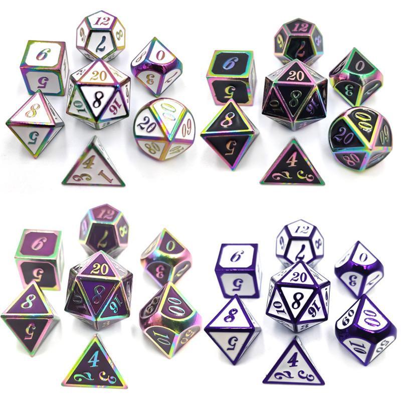 7pcs / Sets Kirsite Metal Dice Dice Multilateral Dice Electroplate Gloss Digital Dice Table Games TRPG DND Kesulu COC