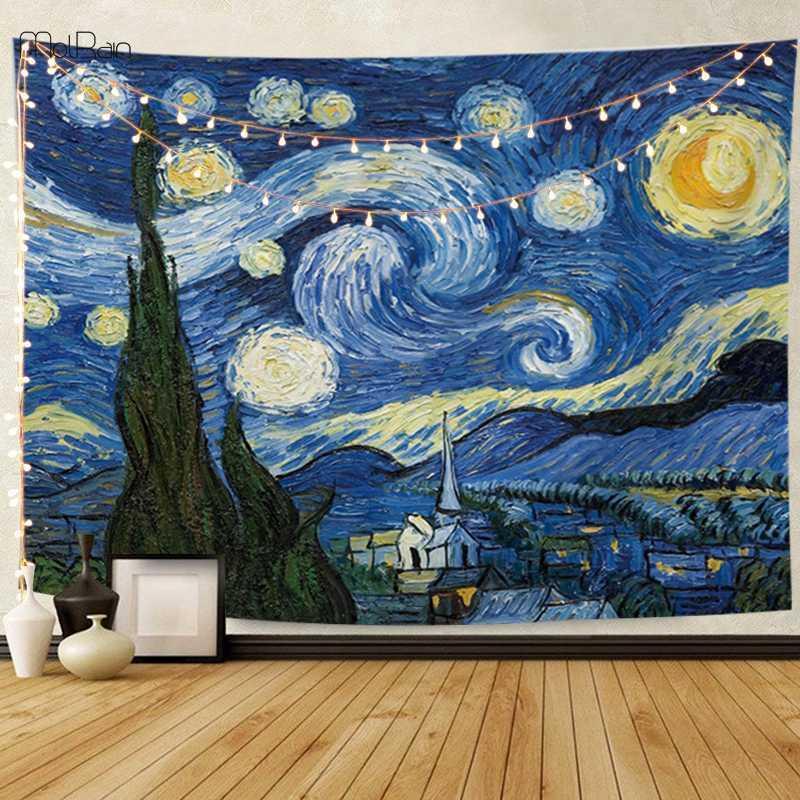 추상 회화 담요 침대보 식탁보 인쇄 고흐 벽 예술 카펫 판매 디자인 패턴 유형을 매달려 벽 태피스트리