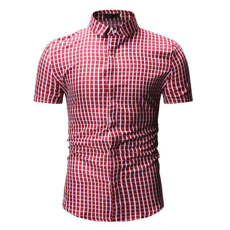 Los hombres nuevo cheque camisas de manga corta de verano Holgado Negocio Formal Casual camisa de tela escocesa Holiday Beach Turismo Vida Diaria Rojo Azul