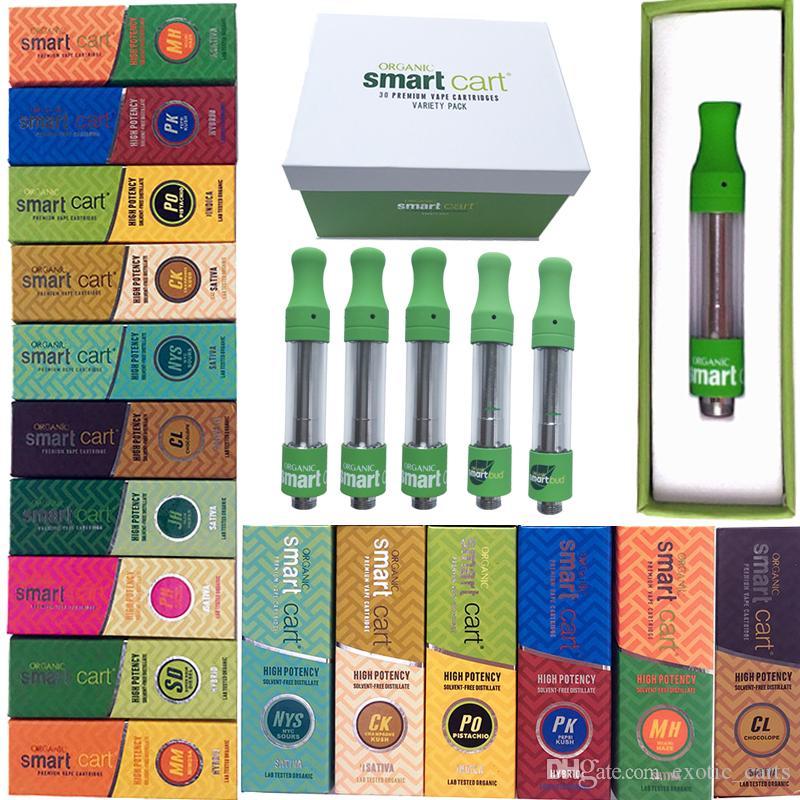 Inteligente Cesta Smartbud Vape Cartucho de embalajes vacíos Dab pluma atomizadores 0,8 ml 1 ml de cerámica 510 carros E cigarrillos aceite espeso vaporizador