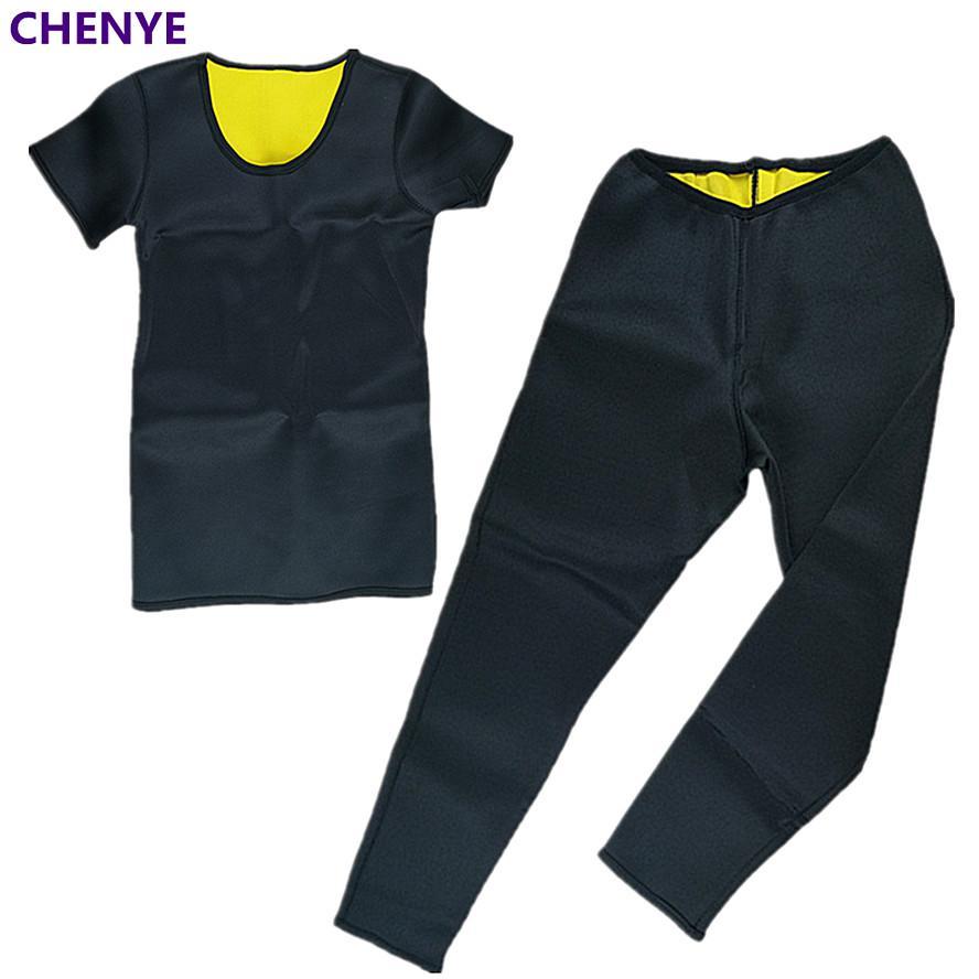 New Body Shaper Slimming Shirt Sauna Neoprene Shapewear Waist-Trimmer Slimming Pants Weight Loss Fat Burning T-Shirt Capri Pants