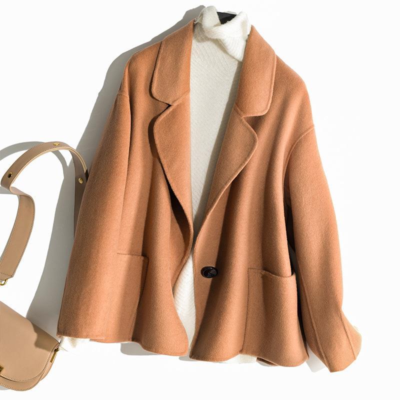 pura lã de dupla face revestimento das mulheres curta fivela mulheres mulheres casacos Outono casaco de cashmere inverno