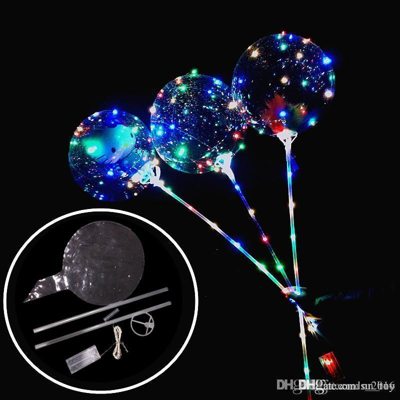 New Luminous Led Balloons With Stick Giant Bright Balloon Lighted Up Balloon Kids Toy Birthday Party Wedding Decorations