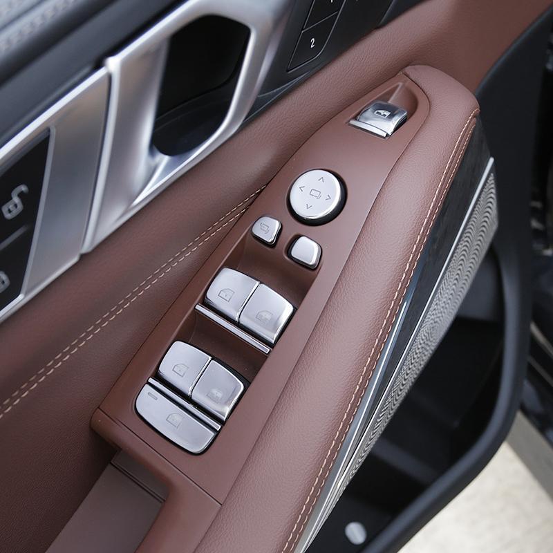 Elevación ventana de botones de cristal de las lentejuelas vinilo decorativo 12pcs para BMW X5 G05 2019-2020 Chrome ABS puertas Apoyabrazos ajuste Calcomanías