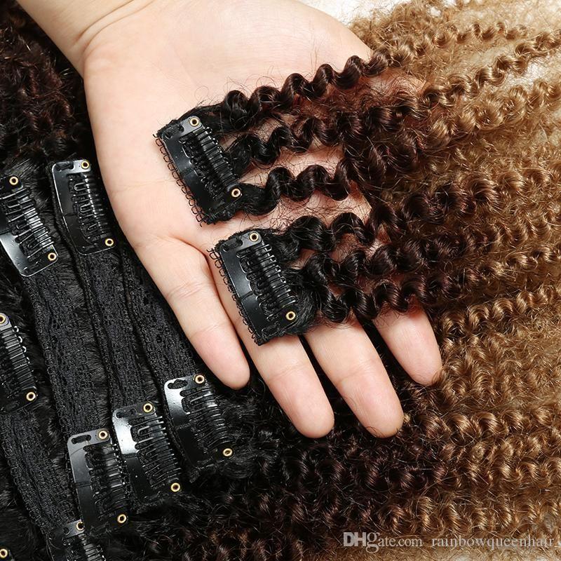 Brezilyalı klip Ins saç Afrika Amerikan afro kinky kıvırcık set başına 8 adet klip insan saçı postiş doğal siyah klipler saç