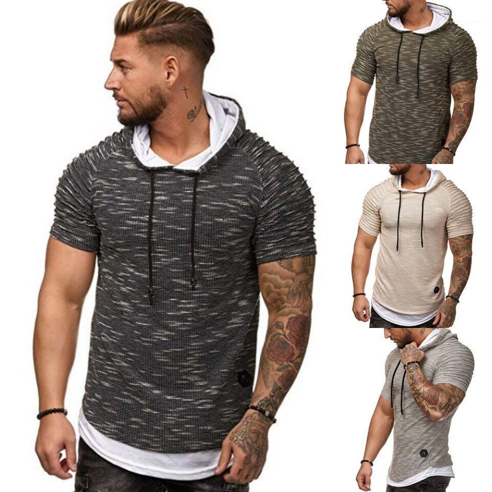 Para hombre de la manga Diseñador Tops Adolescente para hombre camisetas de la moda con capucha de color sólido camiseta corta