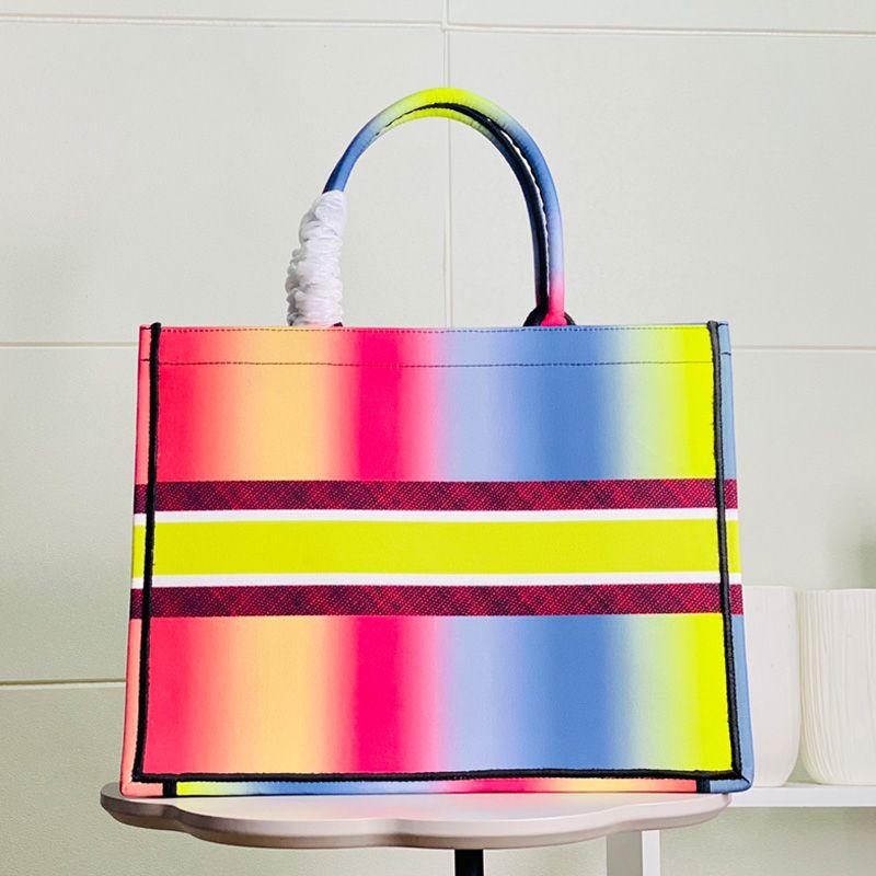 Classic Women Large Colorful Flowers Handbags Multi Color Beach bags Shoulder Handbag Shopping Bags Capacity Ladies Purse Bag