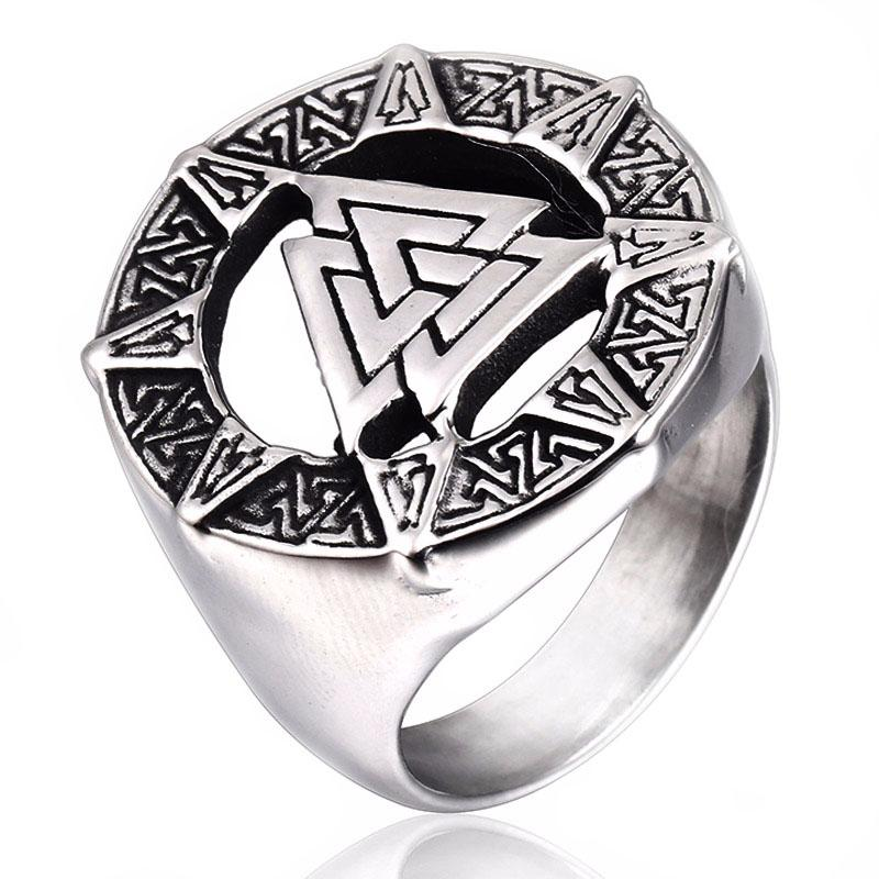 Punk 316L Stainless Steel Nordic Viking Ring Signet Talisman Symbol Men Rings Vintage Finger Jewelry Warrior Valknut Rune Amulet