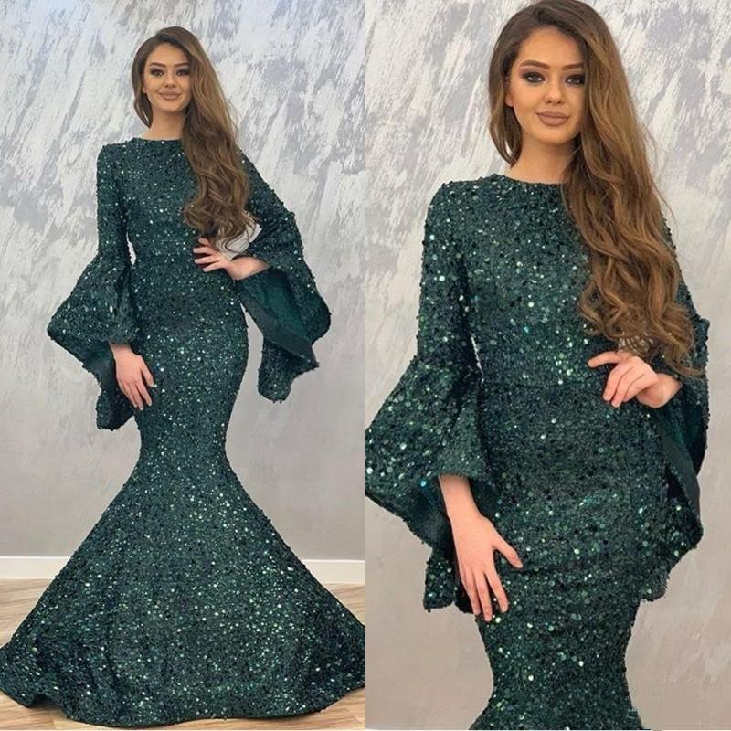 2020 Koyu Yeşil Mermaid Abiye Payet Uzun Kollu Balo Abiye İçin Dubai Kadınlar Resmi Giyim Balo Abiye Vestido de fiesta Abendkleid