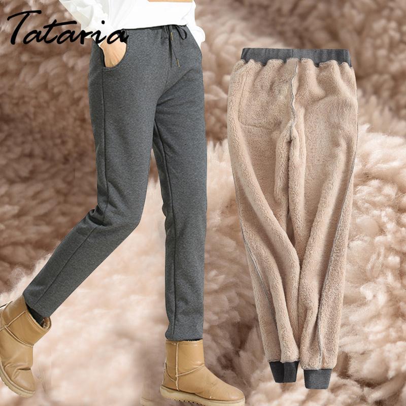Veludo Grosso Lambskin Sweatpant Calças Inverno Cashmere Harem calças quentes das mulheres para Calças Loose Women Inverno Mulheres calças quentes CJ1191109