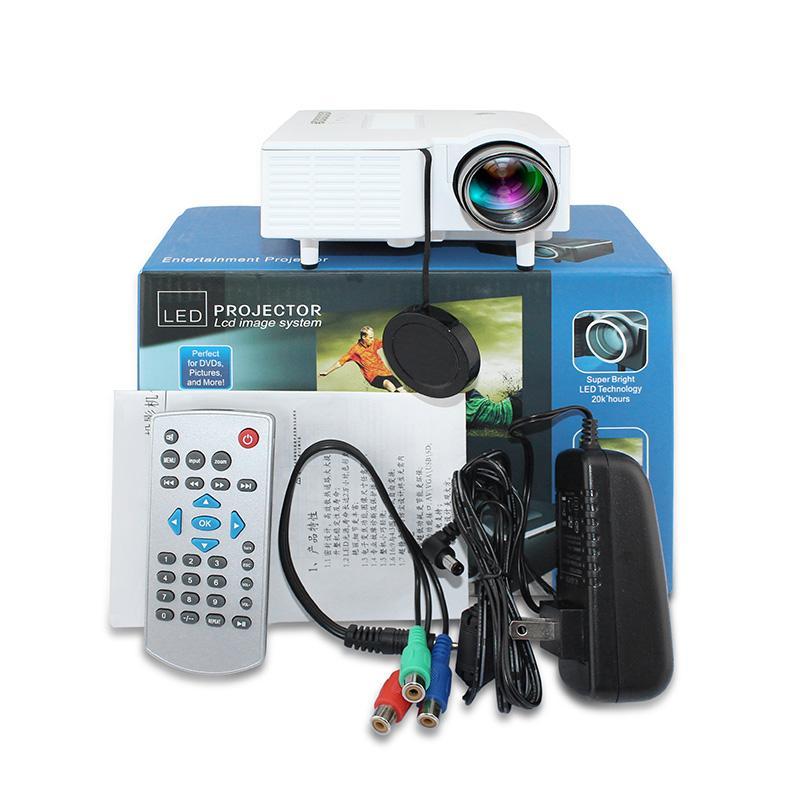 소매 패키지 DHL과 UC28 + 프로젝터 미니 LED 휴대용 극장 비디오 프로젝터 PCLaptop VGA / USB / SD / AV 무료