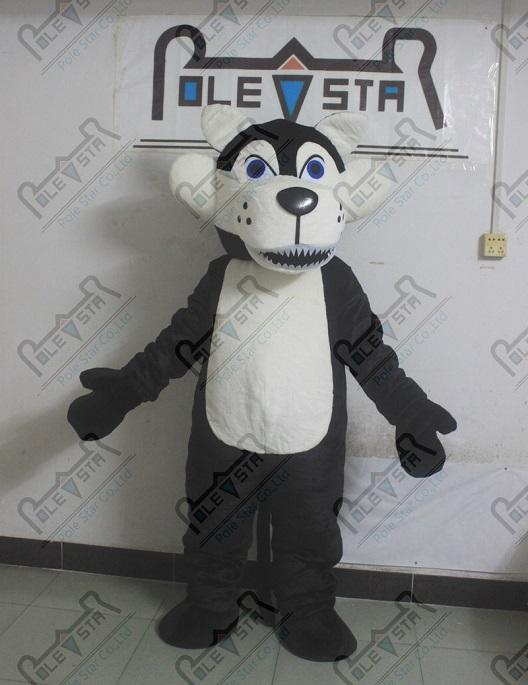 doux costumes de mascotte en peluche loup fourrure costumes chien sauvage noir et gris STAR POLE Mascotte