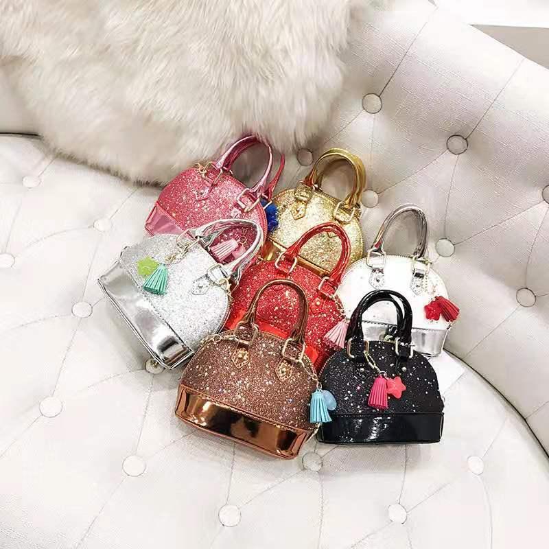 8 colores niños bolsos PU de los niños con lentejuelas Shell bolsos de hombro de la manera coreana de bebé de diseño bolsas adolescente, las niñas Mini Bolsas