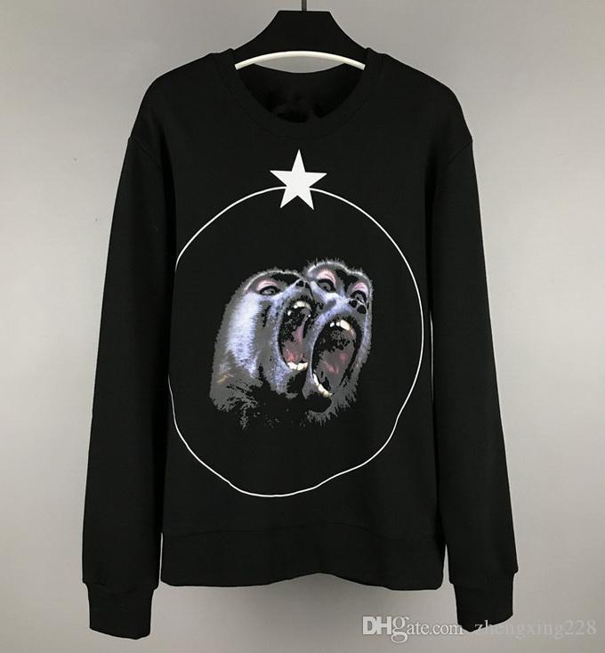 Novo 2019 europeus e americanos 3D Animal Print Pentagrama Estrela Camisola de Algodão Casal Solto Sports Black Camisola jaqueta