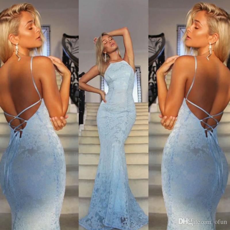 Новая Мода Синий Кружева Спагетти Ремень Русалка Пром Платье Chic Criss Крест Ремни Спинки Длинные Vestidos De Fiesta