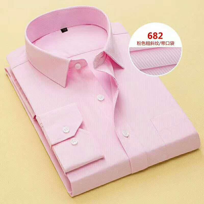 Новый розовый / синий / белый с длинным рукавом рубашка жених мужчин маленький заостренный воротник сгиб формальные случаи платья рубашки нет: 03