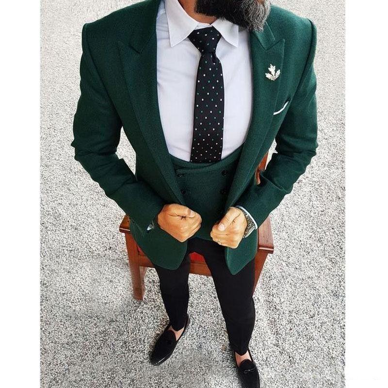 خياط صنع الرجال الدعاوى 2019 الأخضر الداكن الرجال السترة ثلاثة قطعة سترة سوداء السراويل سترة سليم صالح العريس الزفاف البدلات الرسمية