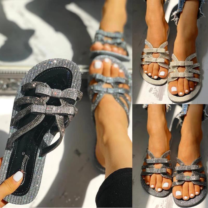 Femmes Filles Cristal bowknot plat de Sandales Chaussons Chaussures de plage strass Bow brillant de Sandales Chaussons dropshipping
