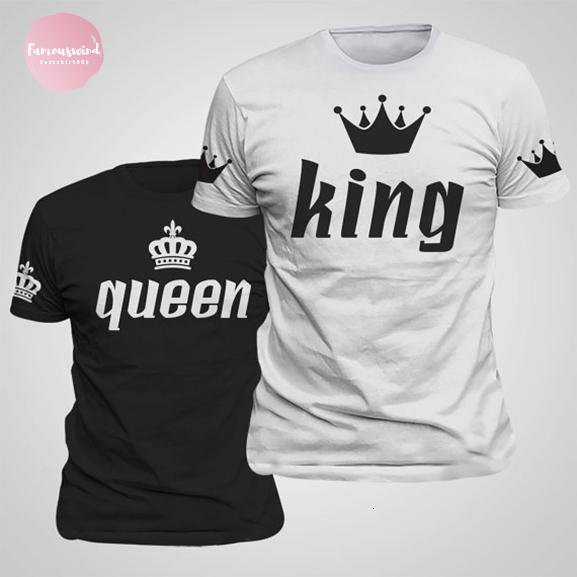 T shirt re stampa regina Lovers Tee Imperial Crown balze Coppia Tee Shirt Notizie Femme Estate casuale O collo di piani