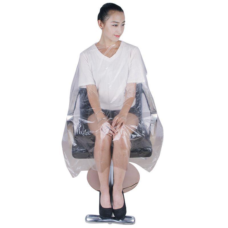 Güzellik Salonu Boya Saç Tek Önlük Pe Plastik Şeffaf Karşıtı Kanalizasyon Kesim Saç Panço Koruyucu Kuaförlük Capes 50pcs 35ht E19
