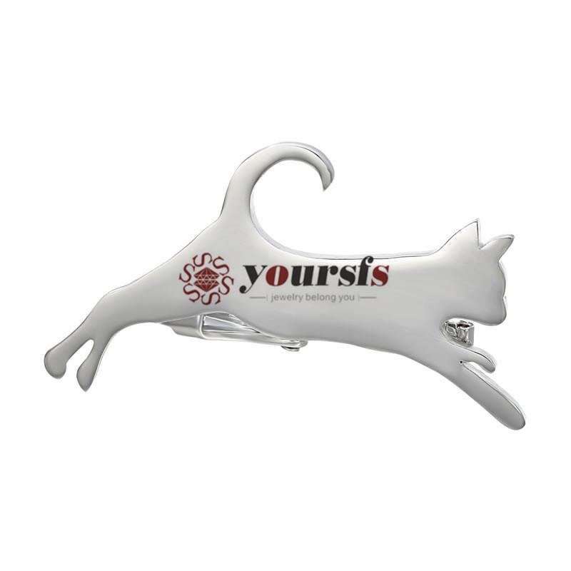 Yourfs Fashion Mannen Vergulde 18K Zilver Springen Kitten Tie Clip Design Unieke Verjaardag Verjaardagscadeau