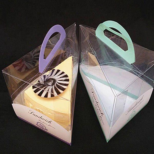Cajas de pastel de mousse de queso con mango Caja de embalaje de plástico transparente para postre rebanada Pequeño pastel pastel horneado