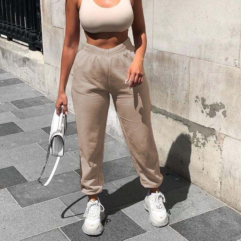 Mulheres Corredores perna larga moletom Mulheres Calças Plus Size cintura alta calças Streetwear Casual Pant Femme queda
