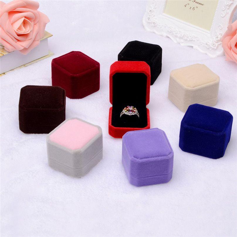 Fashion Velvet Engagement Wedding Earring Ring Pendant Jewelry Display Box Gift ring box Storage Boxes #3F12