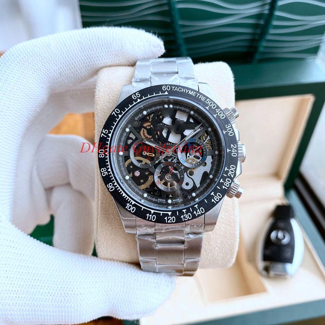 Último reloj de esqueleto para hombre de primera moda 116500 116520 Movimiento automático de dial abierto No cronógrafo Hombres Rose Oro Fresco Deporte Sport Wrwatches