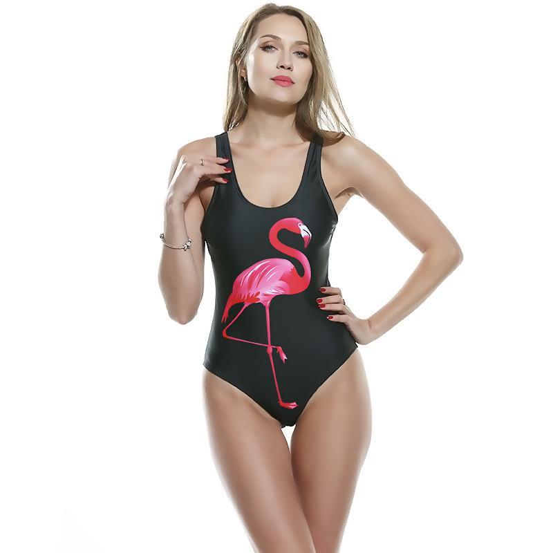 Plage de baignade pour les femmes Retour Push up One Costume Maillot de bain Maillots de bain Flamingo Pièce Sexy Posslement Monokini 2020 Imprimé Baignoire Été Xeeeg