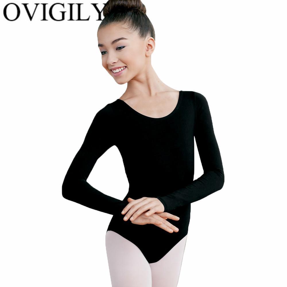 OVIGILY Long Sleeve Leotards For Girls Toddler Spandex Gymnastics Leotard Lycra Black Bodysuit Ballet Dance Costumes For Kids