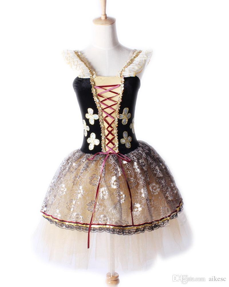 Grey Brown Ballet Tutu Vestido Dança para Crianças Meninas Prática Female Ballet Comprimento da saia de alto grau de Lace Stage Performances L18