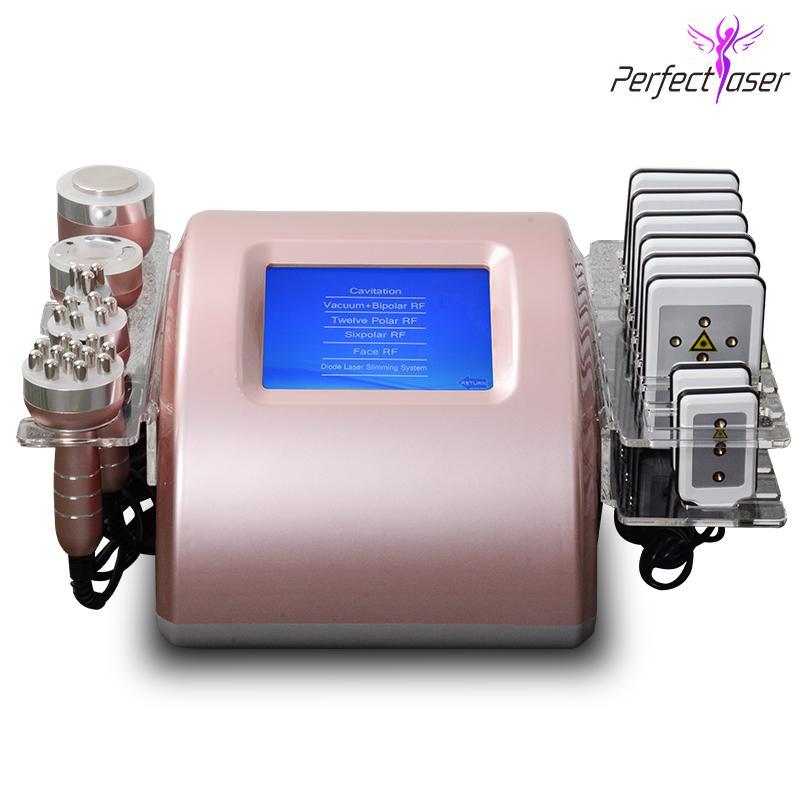 Mejor lipo láser máquina de adelgazamiento cavitación del ultrasonido LipoLaser la pérdida de grasa de la piel RF multipolar apretar el equipo 2 años de garantía
