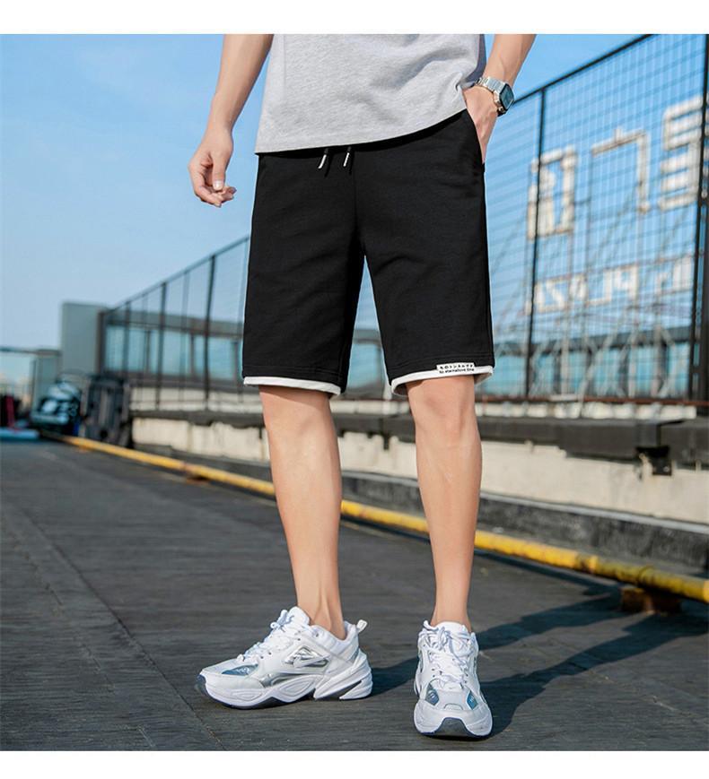 صيف الرياضة الرباط الرجال السراويل العادية عارضة الرجل مصمم الملابس الركبة مرتاح طول السراويل موضة ذكر قصيرة