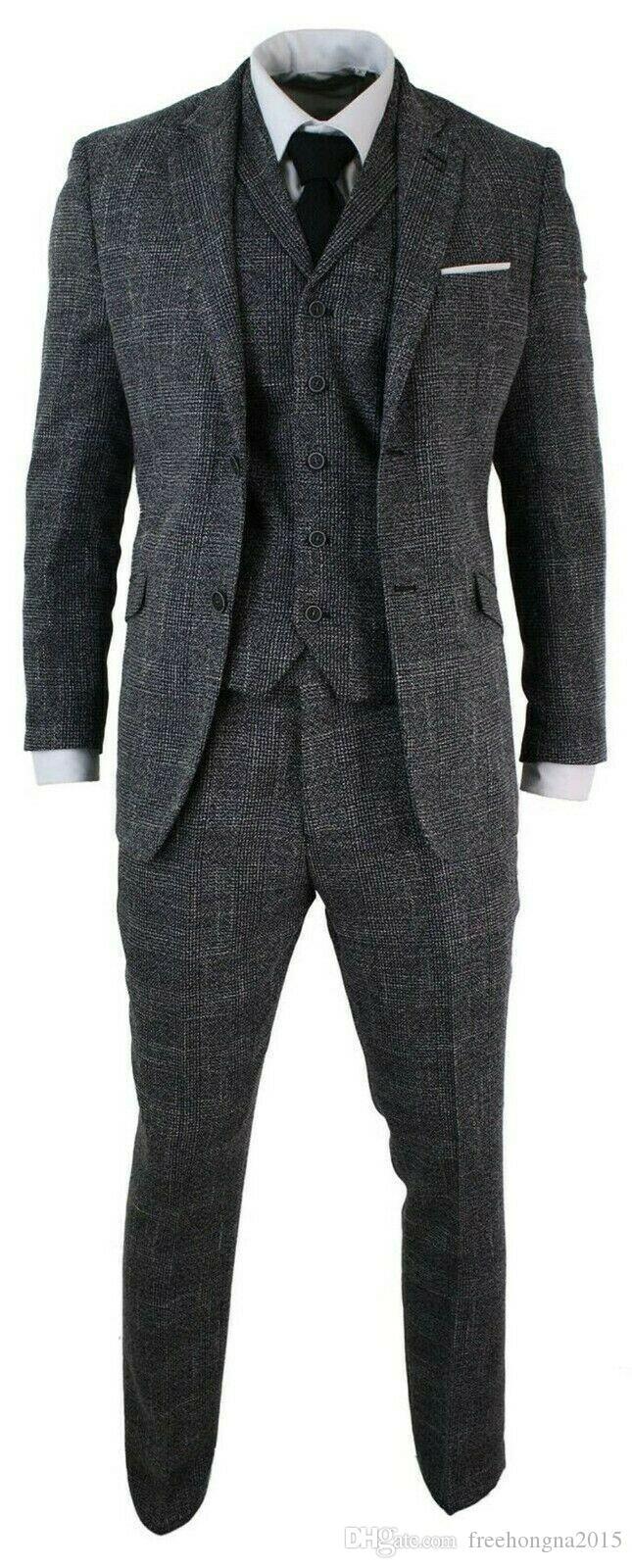 2020 Vintage мужских костюмов заказуНаш Fit 3 шт Серой Черной Елочки Tweed Урожай ретро официально костюм шерсть Свадебных смокингов Мужские костюмы Плюс Siz