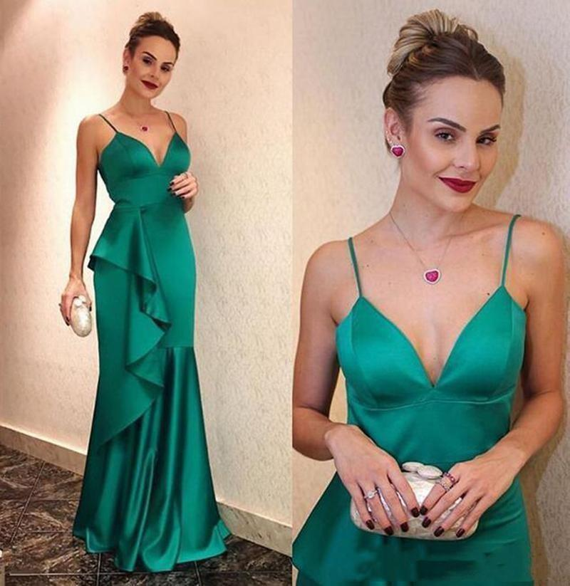 Amazing Sexy Mermaid Prom Dresses Spaghetti Straps Sleeveless Formal Party Gowns Evening Dress Robe De Soiree
